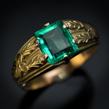 antique emerald men's ring