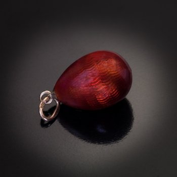 Faberge red guilloche enamel egg