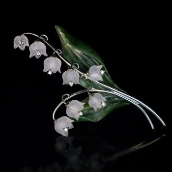 Vintage Lily of the Valley rock crystal jade brooch pin