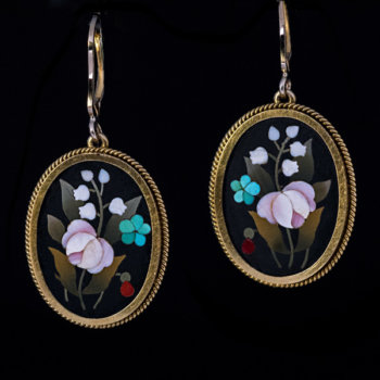 antique Florentine mosaic gold earrings