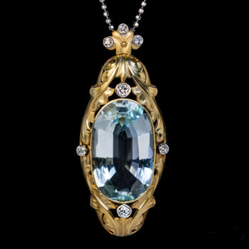 Art Nouveau antique aquamarine pendant necklace