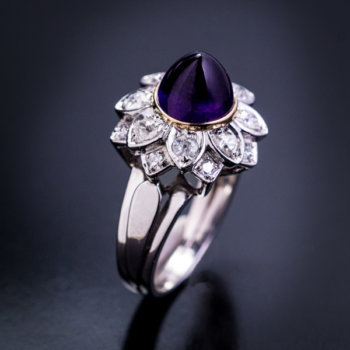 vintage cabochon amethyst diamond ring
