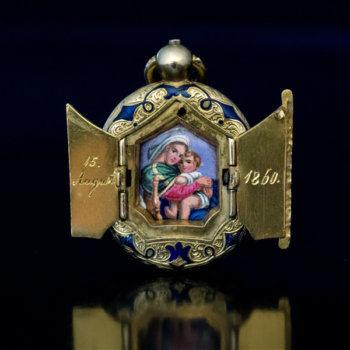 antique gold and enamel locket pendant