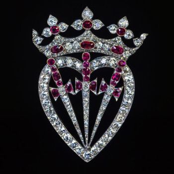 antique Victorian diamond and ruby crown heart and swords brooch pendant