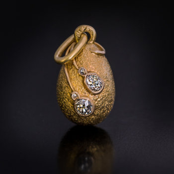 Faberge gold diamond egg pendant