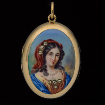 antique Victorian gold locket pendant with enamel miniature