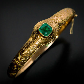 antique emerald and engraved gold Victorian bangle bracelet