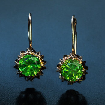 Russian demantoid earrings 1.07 ct and 1.18 ct