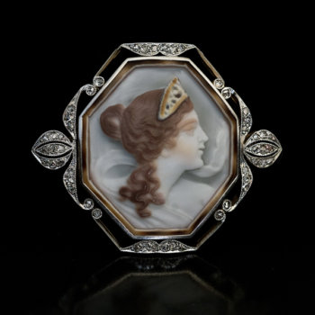Art Nouveau shell cameo brooch