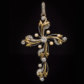 Art Nouveau cross pendant