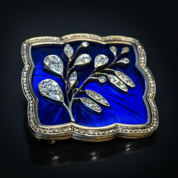 antique Art Nouveau jewelry - Russian guilloche enamel diamond and gold brooch by Feodor Lorie