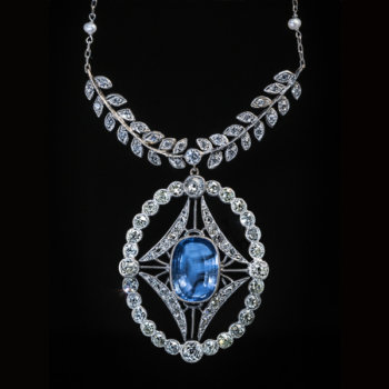 antique Ceylon sapphire and diamond necklace