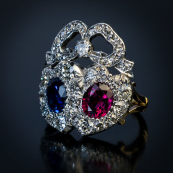 antique twin double heart ruby sapphire and diamond ring
