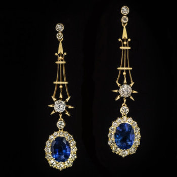 antique sapphire and diamond pendant earrings