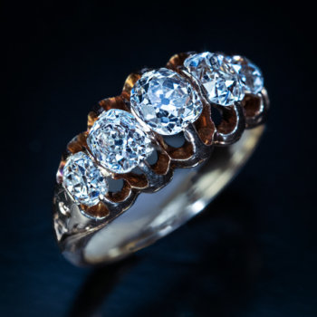 antique Victorian 5 stone diamond ring