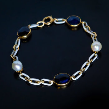 antique sapphire pearl and enamel gold bracelet