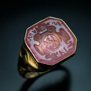 antique tourmaline intaglio gold signet ring