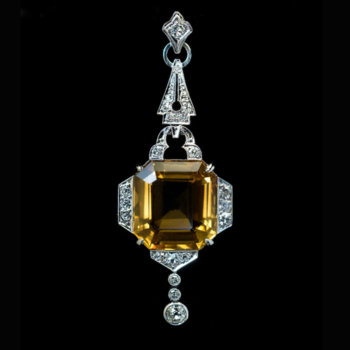 vintage Art Deco citrine diamond pendant
