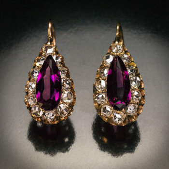 rhodolite garnet and rose cut diamond drop shaped earrings