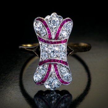 antique Edwardian diamond and ruby ring