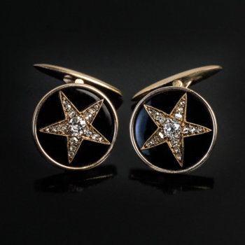 antique diamond enamel gold star cufflinks