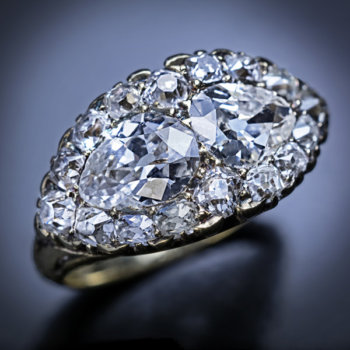 antique mid 19th century Victorian diamond engagement ring