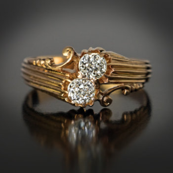 antique two diamond bypass engagement ring