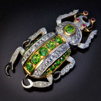 demantoid diamond insect beetle brooch pin